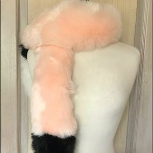 Urban Outfitters Scarf Wrap Fur Pink Black Ivory